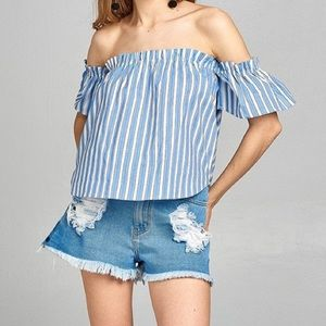 Active USA Blue/White Striped Short Sleeve Top